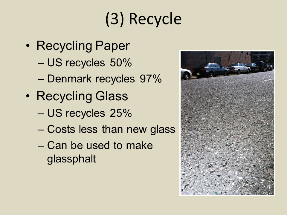 (3) Recycle Recycling Paper Recycling Glass US recycles 50%