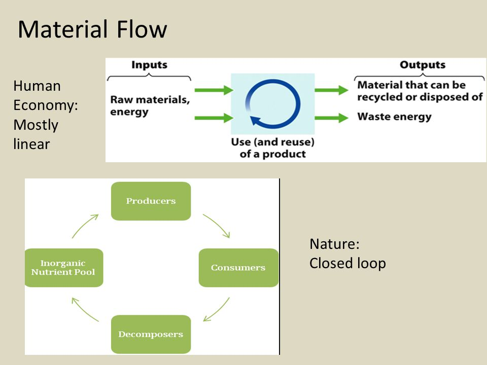 Material Flow Human Economy: Mostly linear Nature: Closed loop