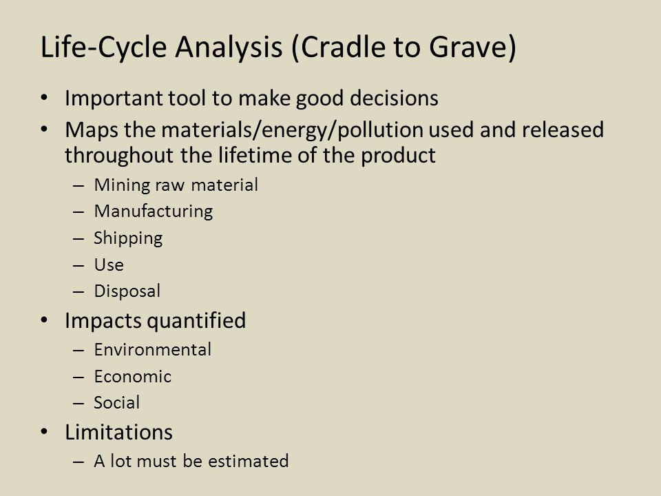 Life-Cycle Analysis (Cradle to Grave)