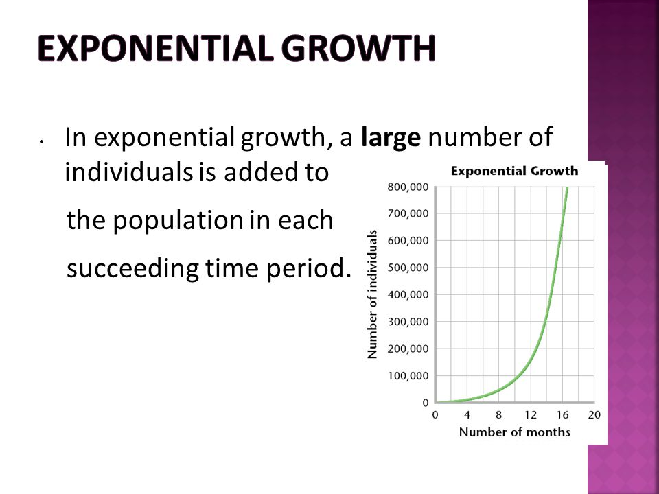 Exponential Growth In exponential growth, a large number of individuals is added to. the population in each.