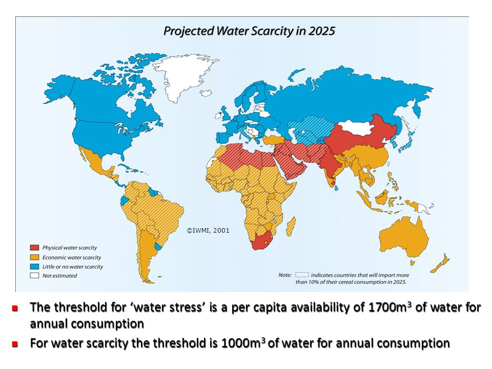 ©IWMI, 2001 The threshold for 'water stress' is a per capita availability of 1700m3 of water for annual consumption.