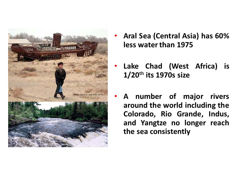 Aral Sea (Central Asia) has 60% less water than 1975