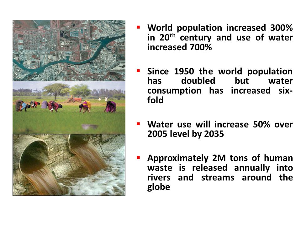 World population increased 300% in 20th century and use of water increased 700%