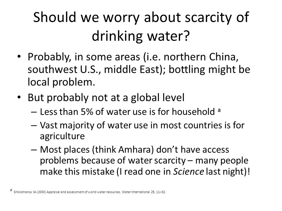 Should we worry about scarcity of drinking water