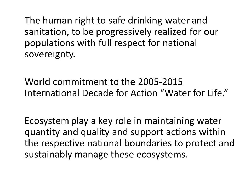 The human right to safe drinking water and sanitation, to be progressively realized for our populations with full respect for national sovereignty.