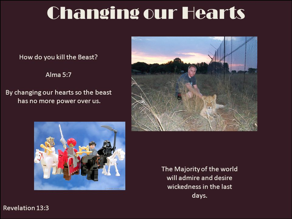 Changing our Hearts How do you kill the Beast Alma 5:7