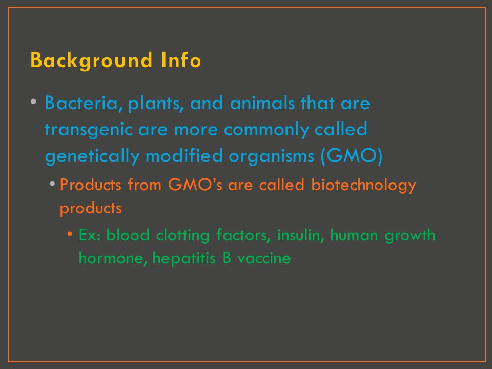 Background Info Bacteria, plants, and animals that are transgenic are more commonly called genetically modified organisms (GMO)