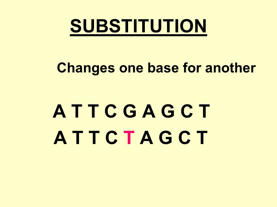 SUBSTITUTION A T T C T A G C T Changes one base for another