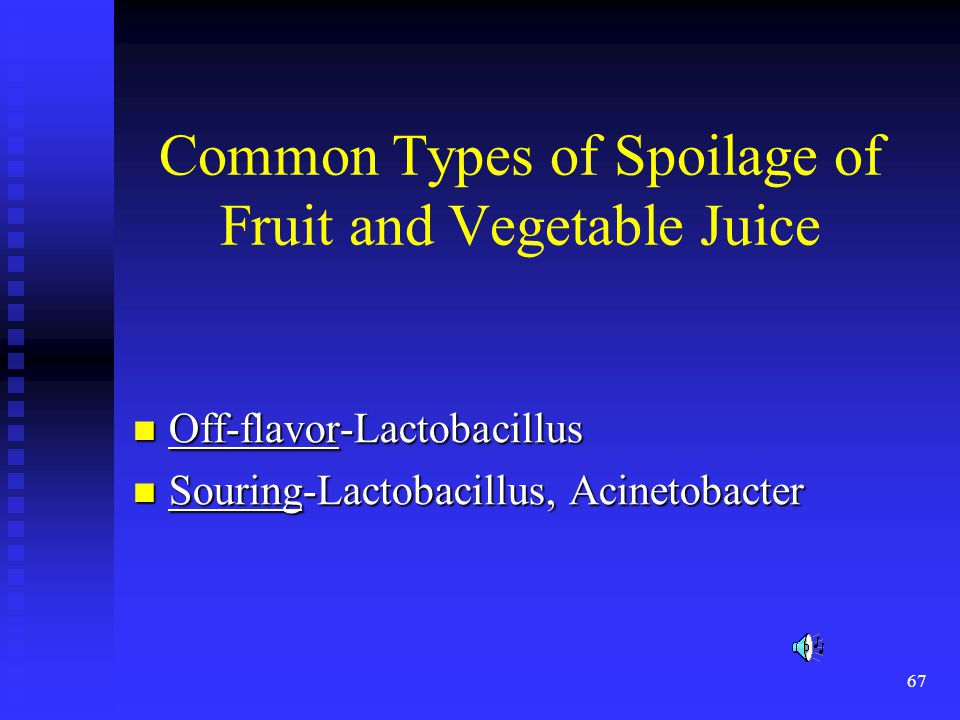 Common Types of Spoilage of Fruit and Vegetable Juice