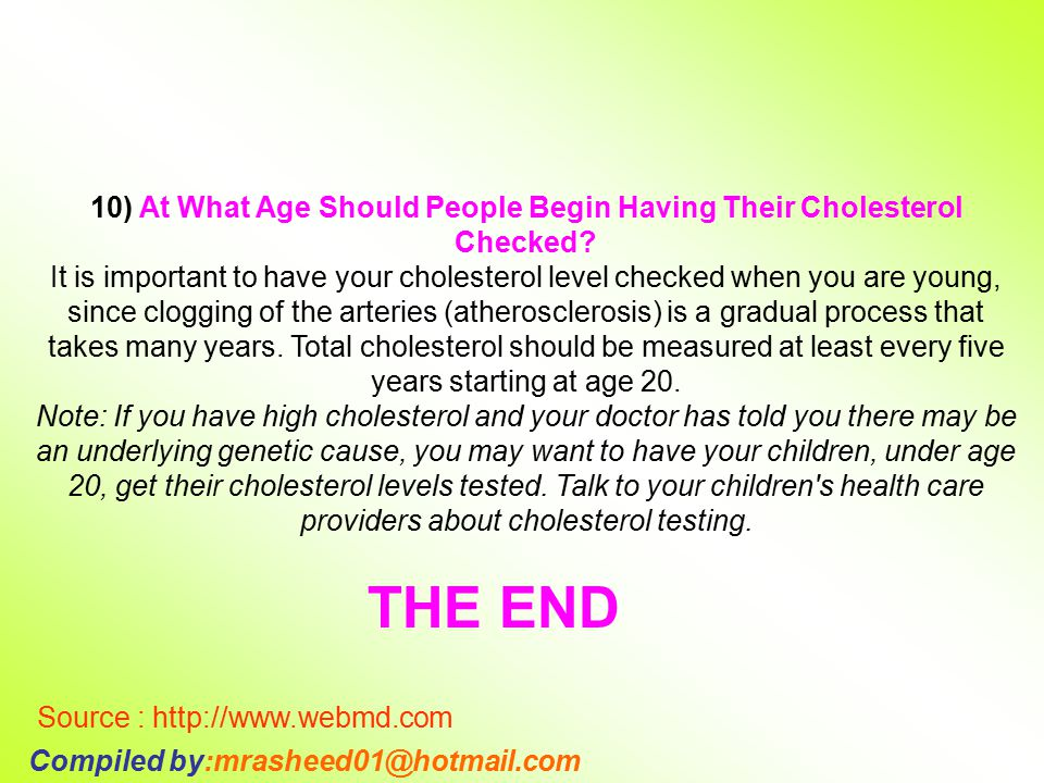 10) At What Age Should People Begin Having Their Cholesterol Checked