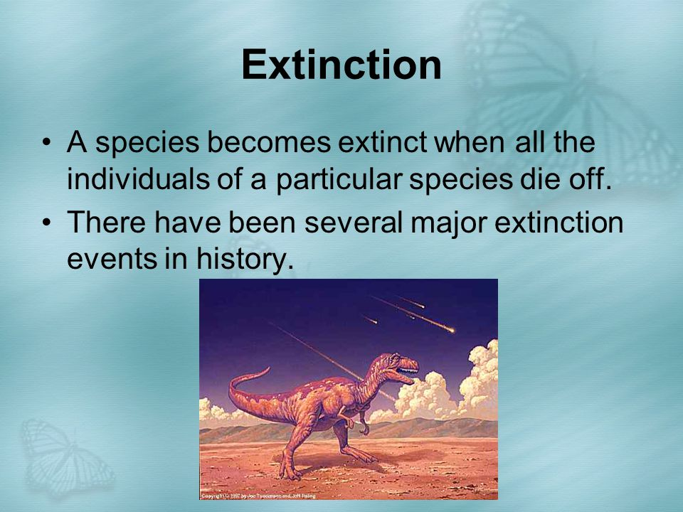 Extinction A species becomes extinct when all the individuals of a particular species die off.