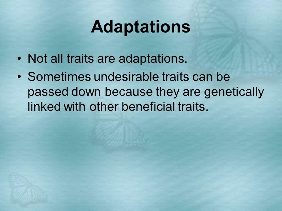 Adaptations Not all traits are adaptations.