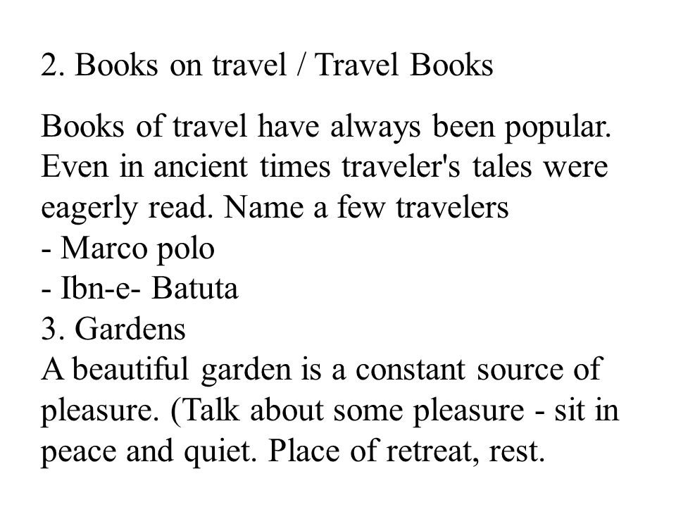 2. Books on travel / Travel Books