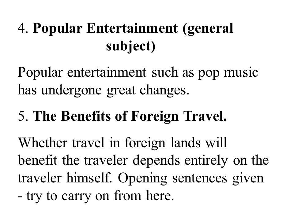 4. Popular Entertainment (general subject)