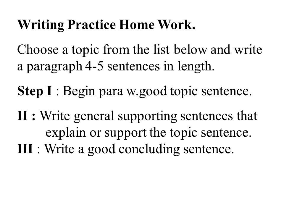 Writing Practice Home Work.