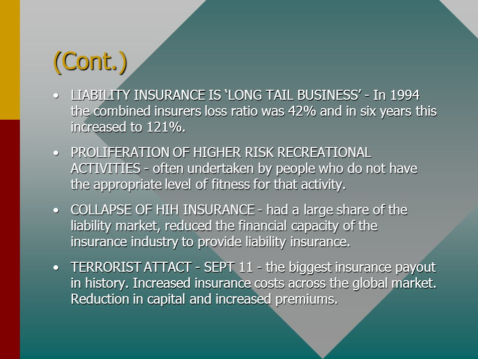 (Cont.) LIABILITY INSURANCE IS 'LONG TAIL BUSINESS' - In 1994 the combined insurers loss ratio was 42% and in six years this increased to 121%.