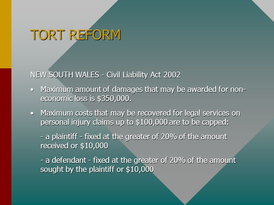 TORT REFORM NEW SOUTH WALES - Civil Liability Act 2002
