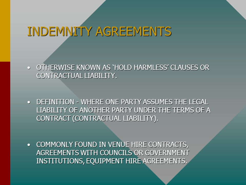 INDEMNITY AGREEMENTS OTHERWISE KNOWN AS 'HOLD HARMLESS' CLAUSES OR CONTRACTUAL LIABILITY.