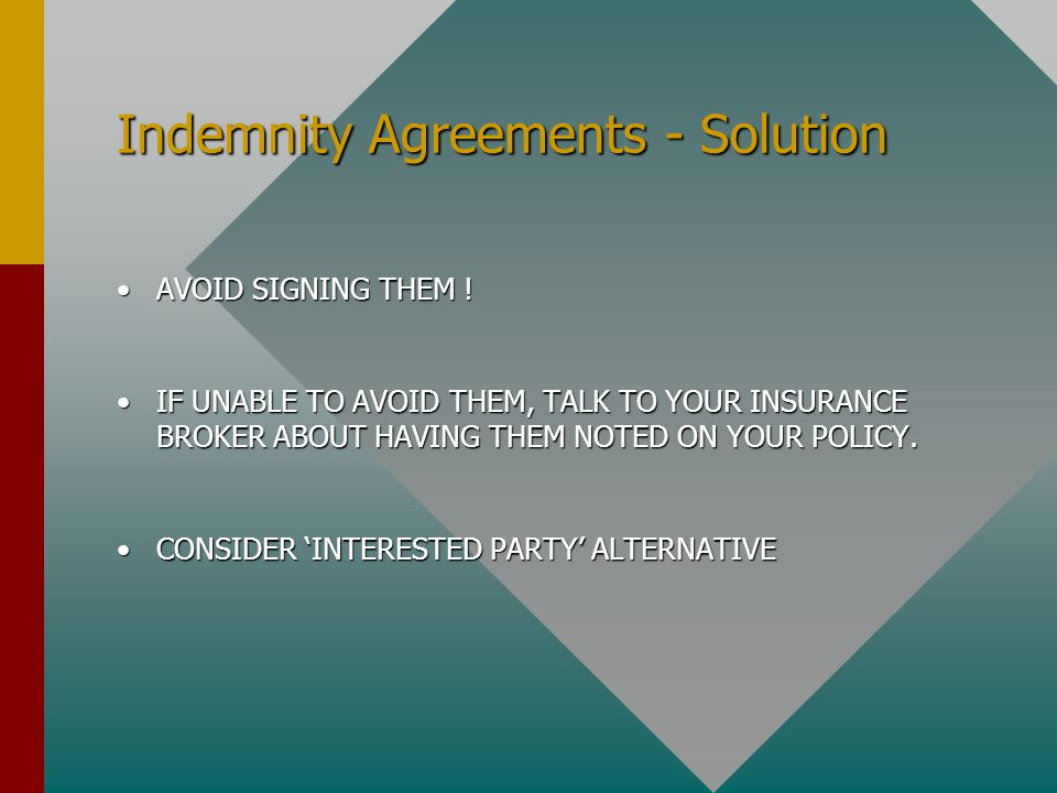 Indemnity Agreements - Solution