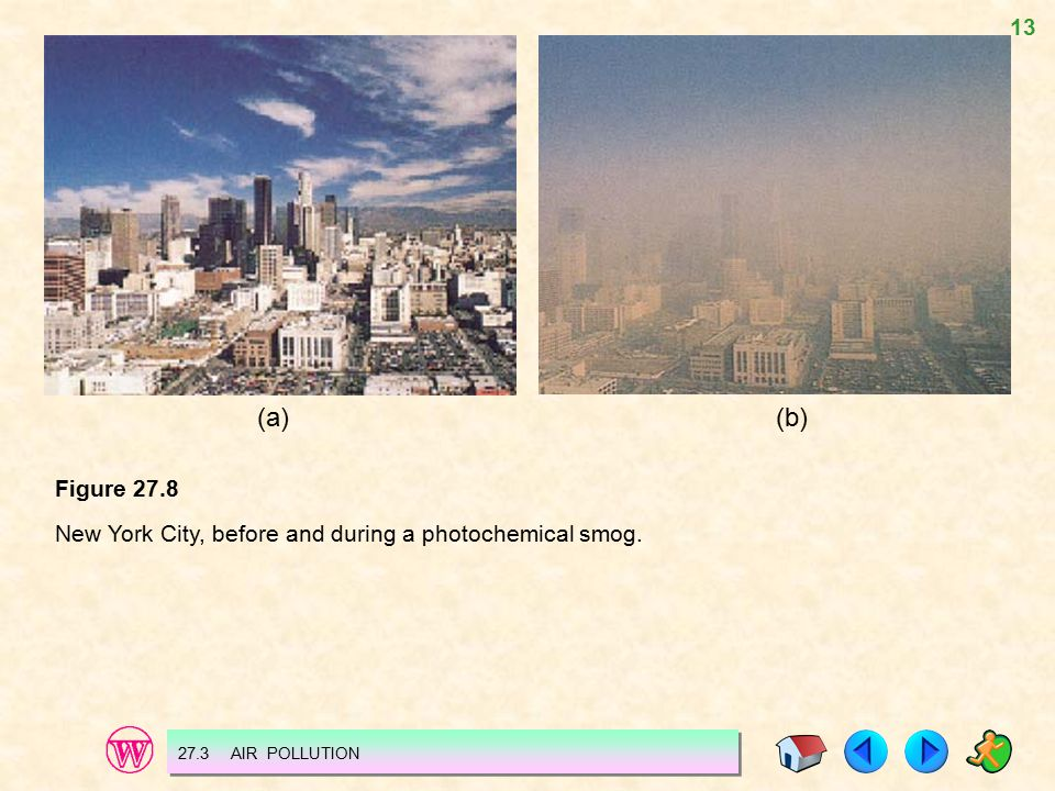 (a) (b) Figure 27.8 New York City, before and during a photochemical smog. 27.3 AIR POLLUTION