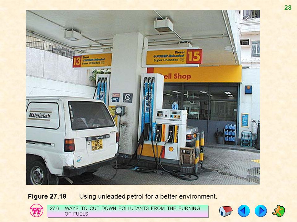 Figure 27.19 Using unleaded petrol for a better environment.