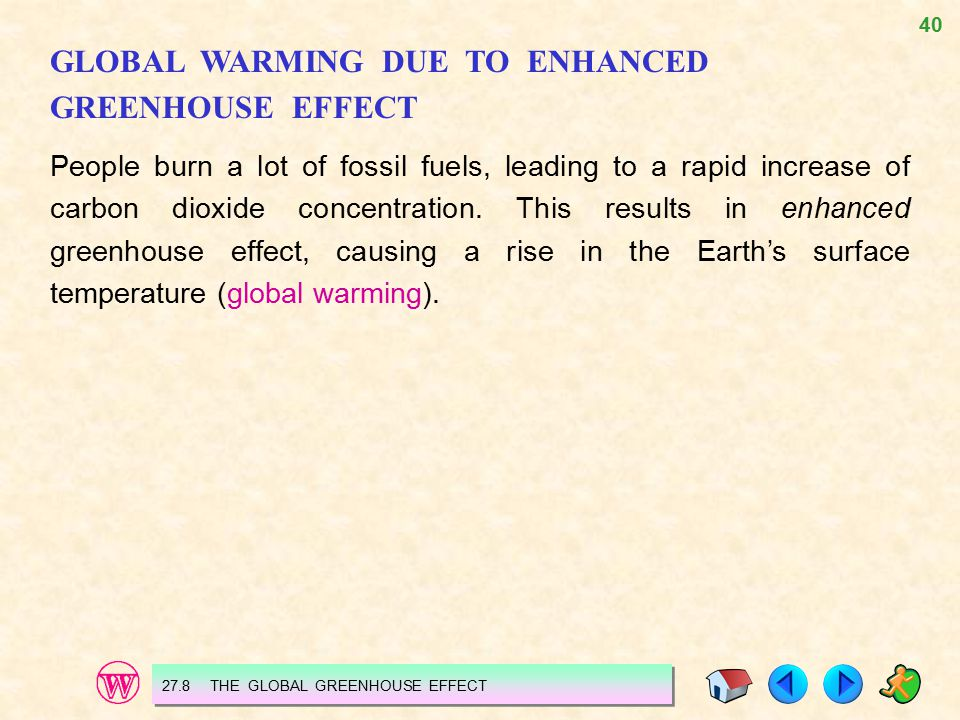 GLOBAL WARMING DUE TO ENHANCED GREENHOUSE EFFECT