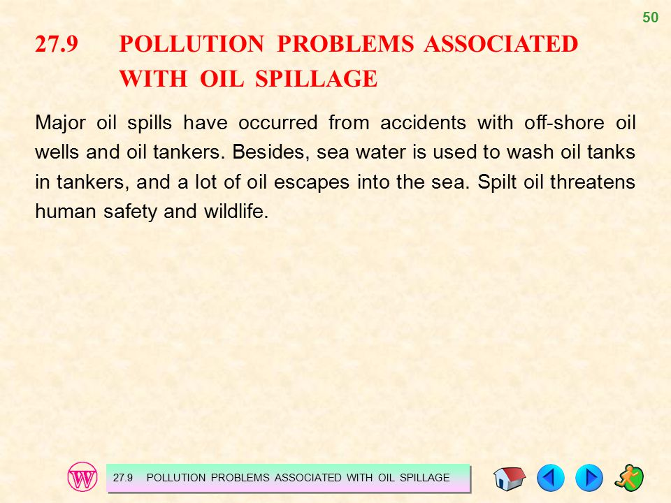 27.9 POLLUTION PROBLEMS ASSOCIATED WITH OIL SPILLAGE
