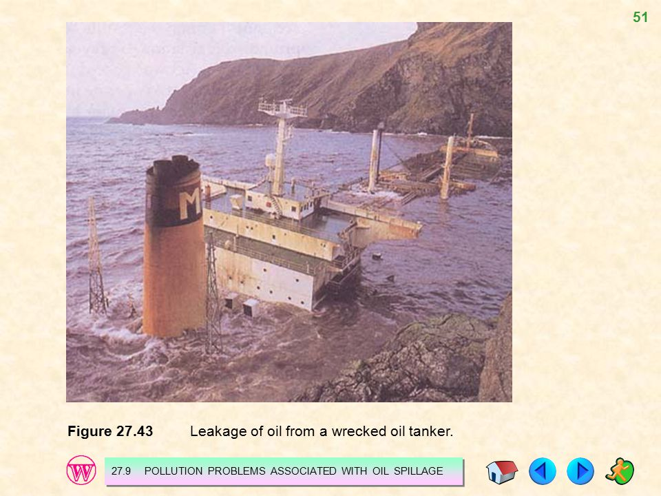Figure 27.43 Leakage of oil from a wrecked oil tanker.