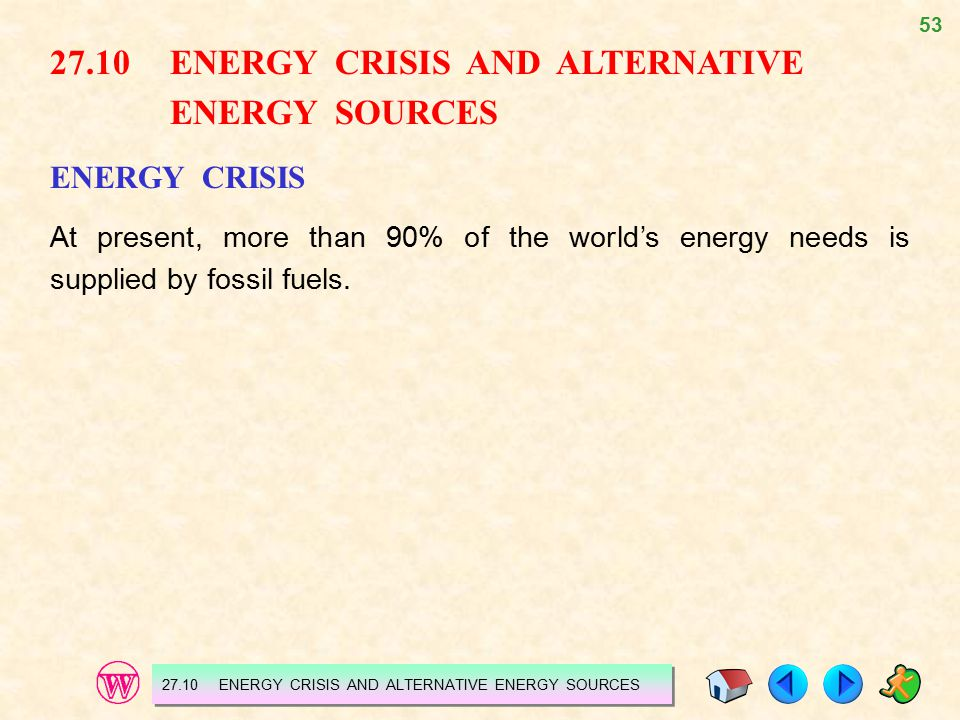 27.10 ENERGY CRISIS AND ALTERNATIVE ENERGY SOURCES