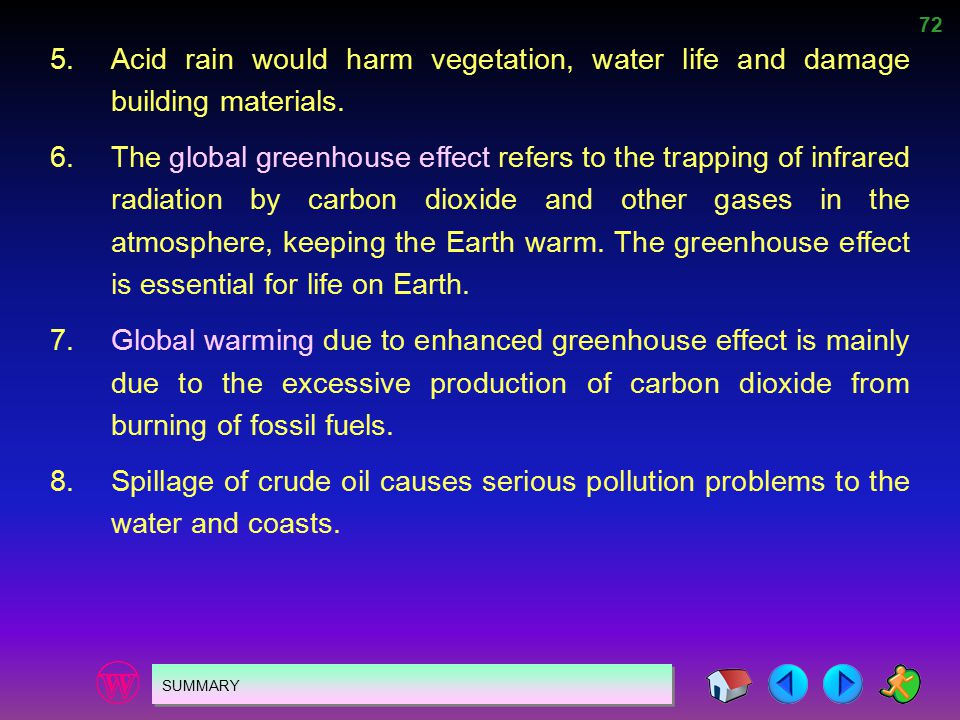 5. Acid rain would harm vegetation, water life and damage building materials.
