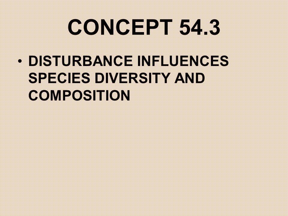 CONCEPT 54.3 DISTURBANCE INFLUENCES SPECIES DIVERSITY AND COMPOSITION