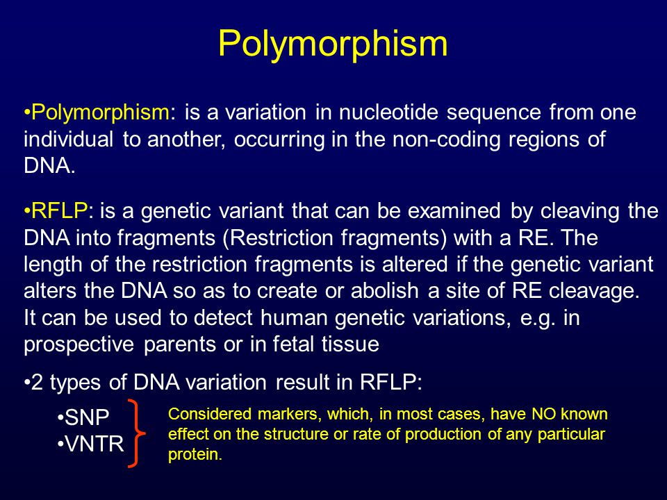 Polymorphism Polymorphism: is a variation in nucleotide sequence from one individual to another, occurring in the non-coding regions of DNA.