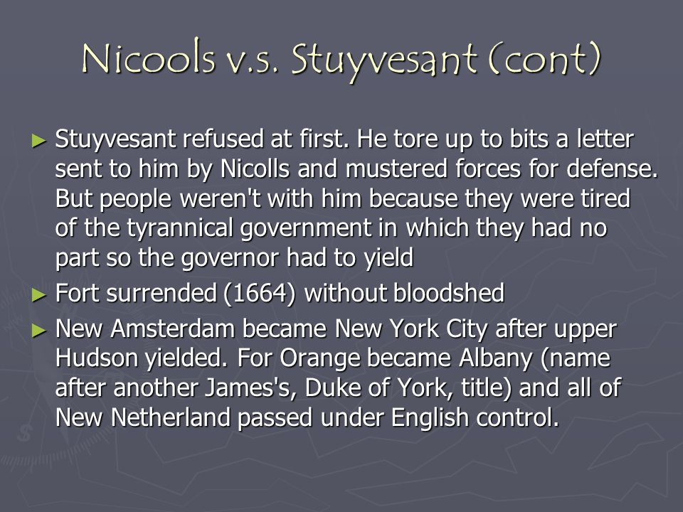 Nicools v.s. Stuyvesant (cont)