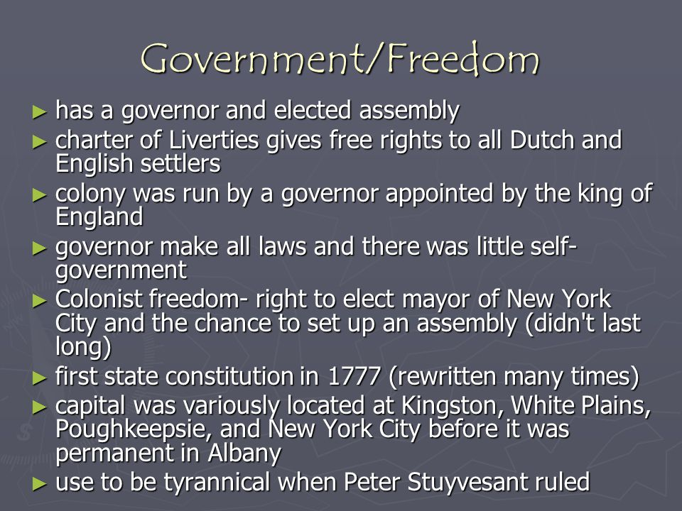 Government/Freedom has a governor and elected assembly