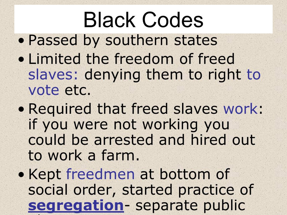 Black Codes Passed by southern states