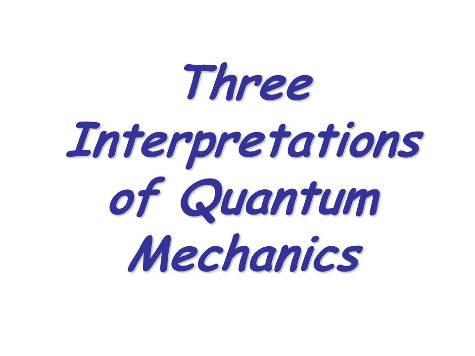 Three Interpretations of Quantum Mechanics