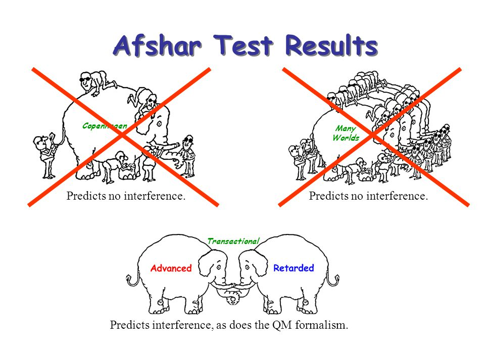 Afshar Test Results Predicts no interference.