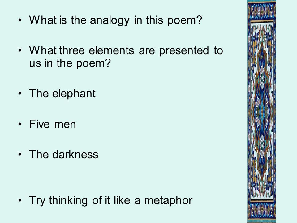 What is the analogy in this poem
