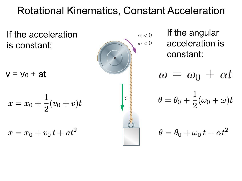 Rotational Kinematics, Constant Acceleration