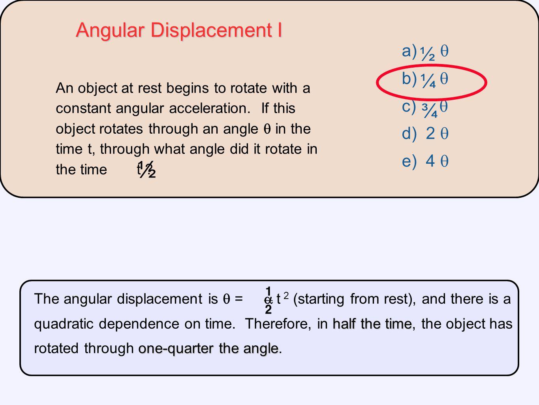 ½ Angular Displacement I ¾ ¼ ½ a)  b)  c)  d) 2  e) 4 
