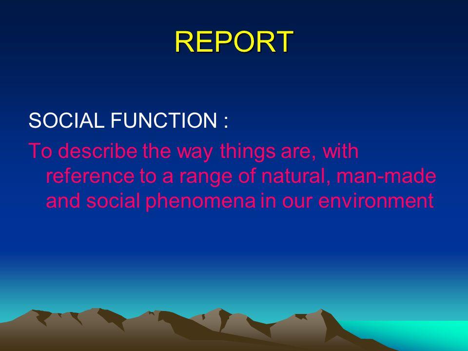 REPORT SOCIAL FUNCTION :