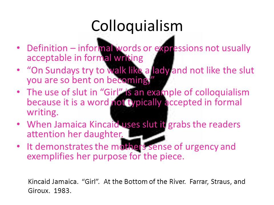 Colloquialism Definition – informal words or expressions not usually acceptable in formal writing.