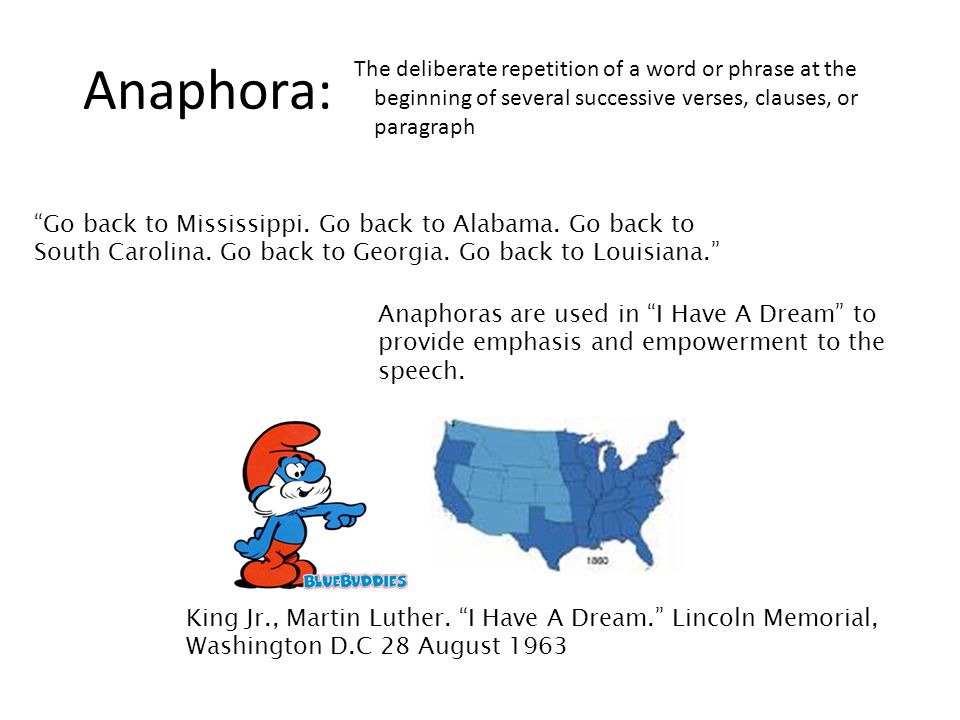 Anaphora: The deliberate repetition of a word or phrase at the beginning of several successive verses, clauses, or paragraph.