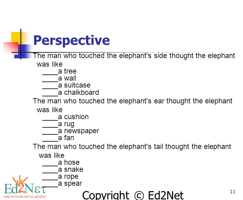 Perspective The man who touched the elephant s side thought the elephant. was like a tree a wall a suitcase a chalkboard.