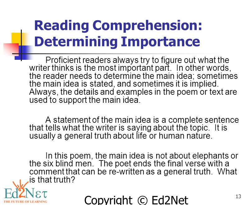 Reading Comprehension: Determining Importance