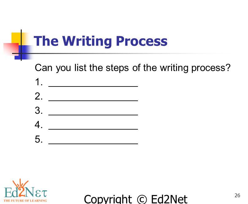 The Writing Process Can you list the steps of the writing process 1.