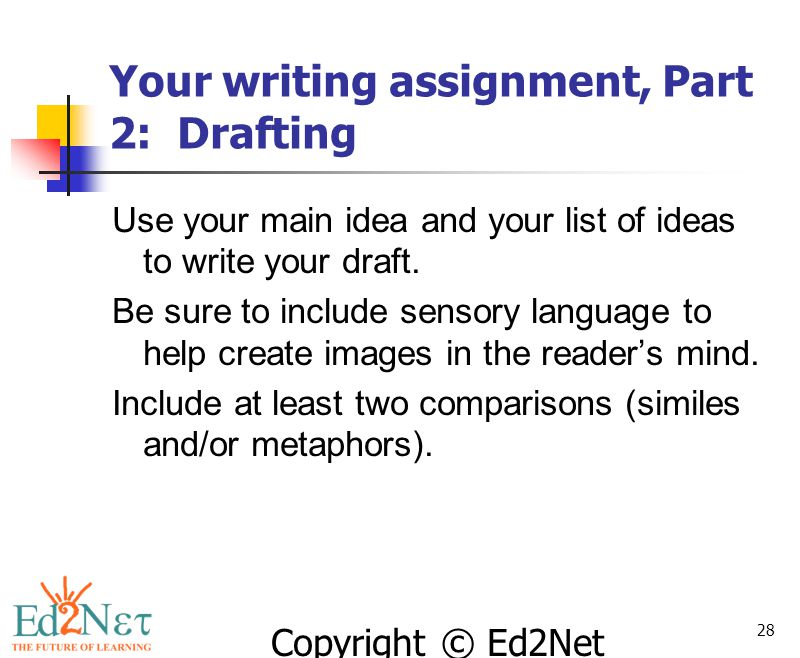 Your writing assignment, Part 2: Drafting