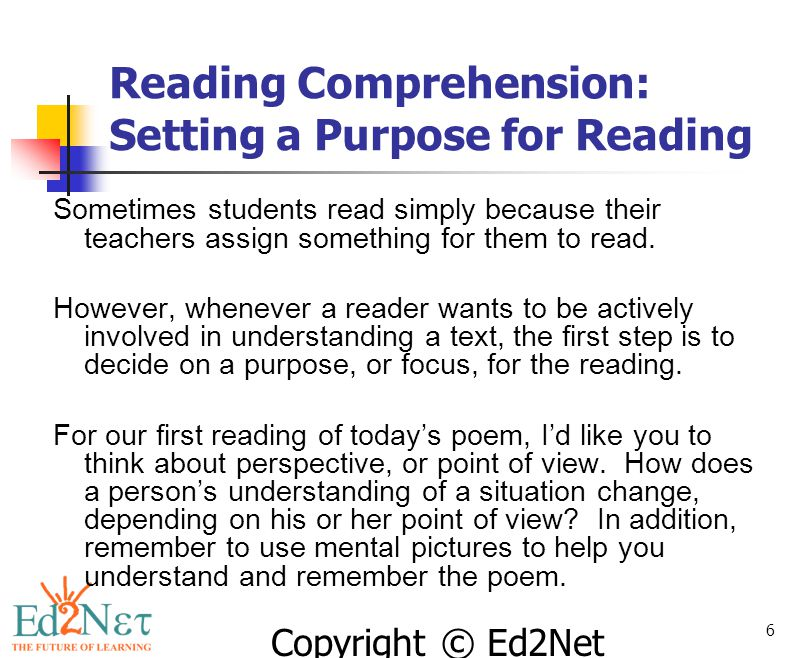 Reading Comprehension: Setting a Purpose for Reading