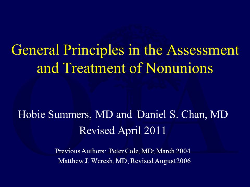 General Principles in the Assessment and Treatment of Nonunions