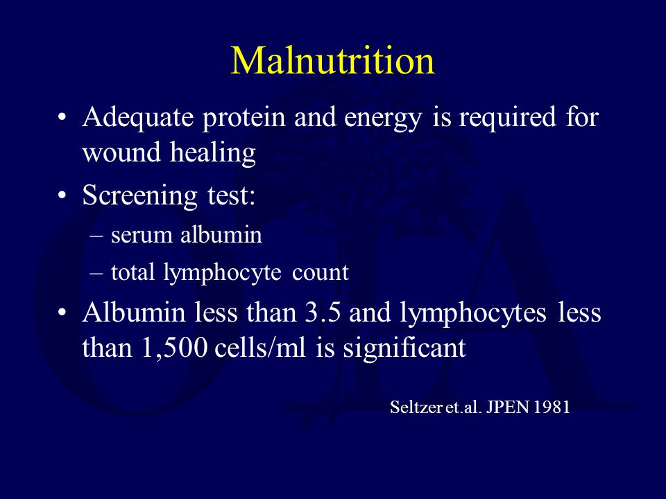 Malnutrition Adequate protein and energy is required for wound healing